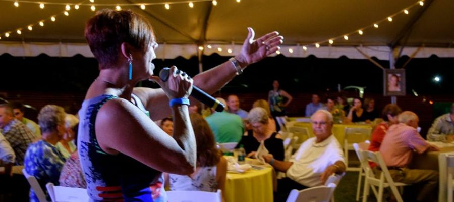 Christie King making an ask during a special appeal / fund-a-need at a fundraising charity auction.